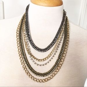 Gold Tones Multi chain adjustable necklace